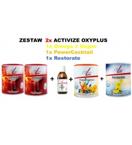 Fitline Zestaw: 2x Activize Oxyplus 1x Omega3 Vegan 1x PowerCocktail Junior 1x Restorate